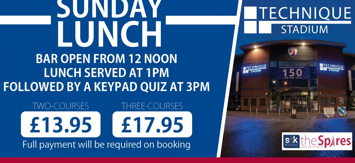 Enjoy Sunday lunch at the Technique Stadium next month!