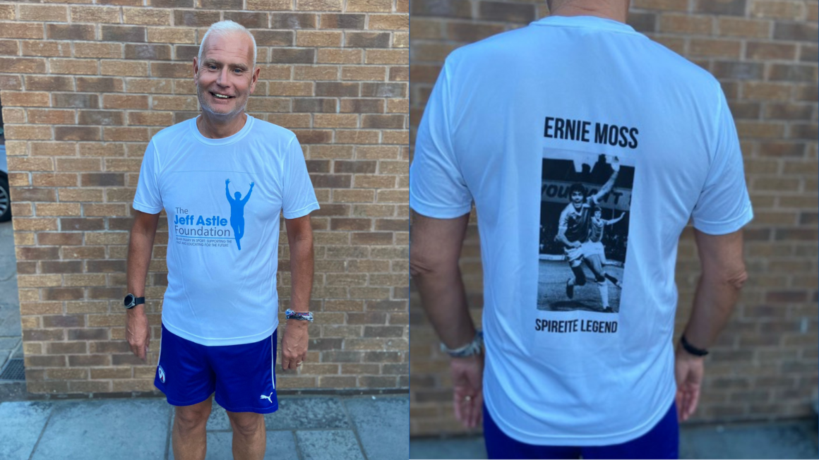Fan running to support Jeff Astle Foundation